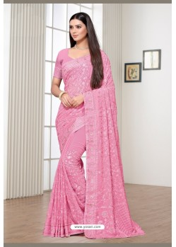 Pink Satin Georgette Party Wear Designer Saree