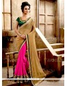 Hot Pink And Beige Lace Work Georgette Designer Saree