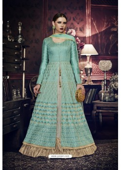 Turquoise Heavy Embroidered Designer Wedding Suit