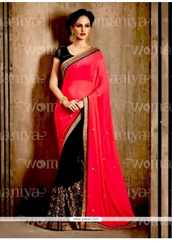 Sensational Faux Chiffon Lace Work Contemporary Saree