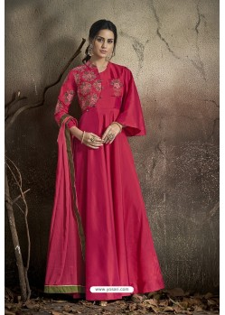 Rani Pink Party Wear Readymade Soft Tapeta Silk Gown