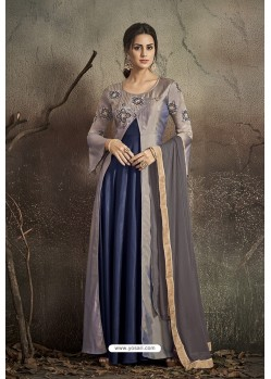 Grey And Blue Party Wear Readymade Soft Tapeta Silk Gown