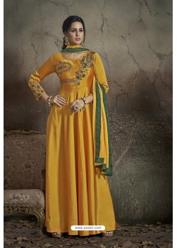 Yellow Party Wear Readymade Soft Tapeta Silk Gown