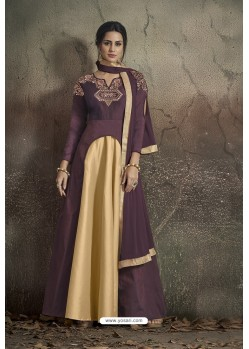 Wine And Gold Party Wear Readymade Soft Tapeta Silk Gown
