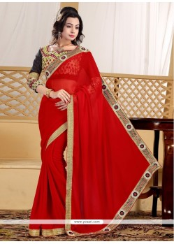 Praiseworthy Georgette Zari Work Contemporary Saree