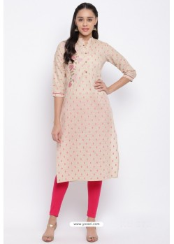 Cream Readymade Casual Wear Kurti