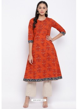 Orange Readymade Casual Wear Kurti