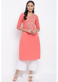 Peach Readymade Casual Wear Kurti