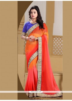 Swanky Jacquard Red And Orange Designer Saree