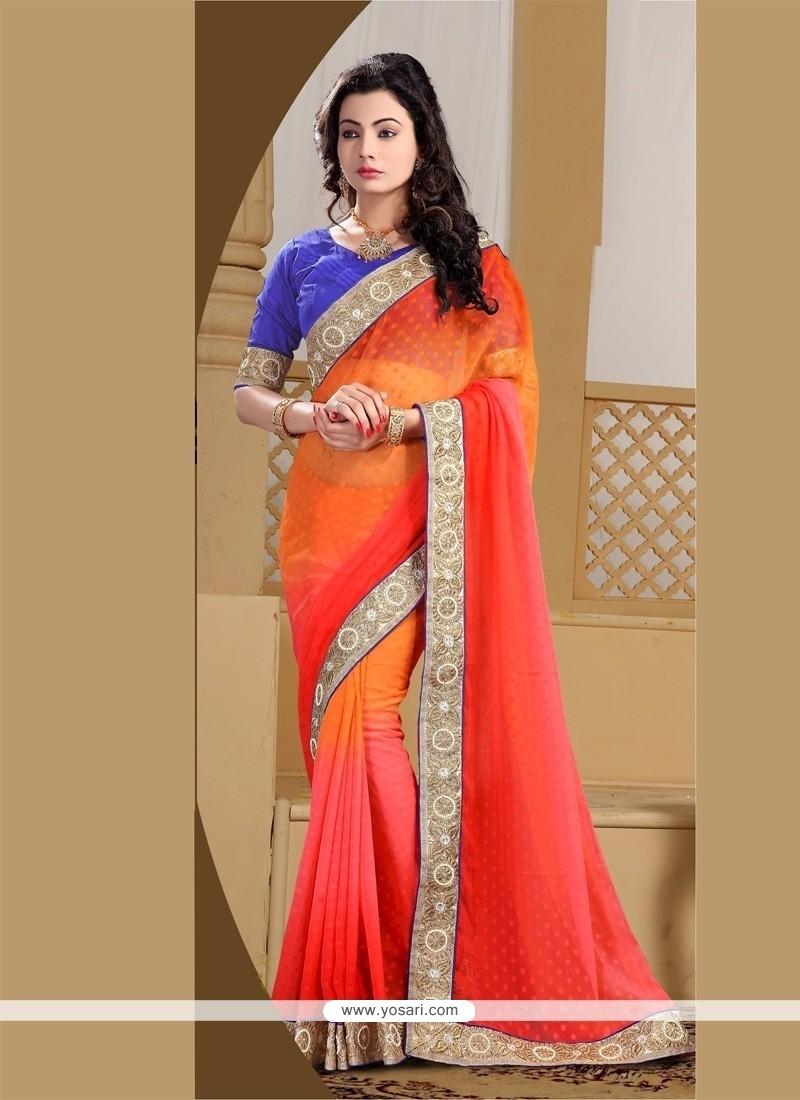 Swanky Jacquard Red And Orange Designer Saree