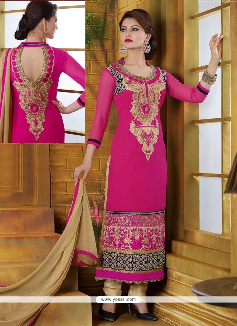 Exceptional Pink And Cream Georgette Churidar Suit