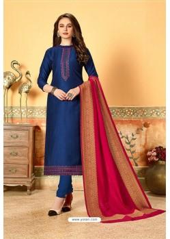 Royal Blue Art Silk Party Wear Designer Straight Suit