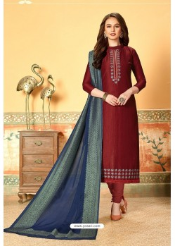 Maroon Art Silk Party Wear Designer Straight Suit