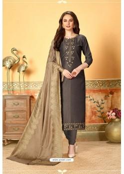 Dark Grey Art Silk Party Wear Designer Straight Suit