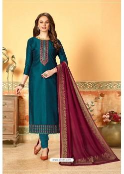 Teal Blue Art Silk Party Wear Designer Straight Suit
