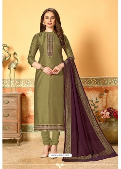 Olive Green Art Silk Party Wear Designer Straight Suit
