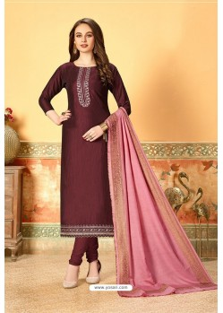 Wine Art Silk Party Wear Designer Straight Suit