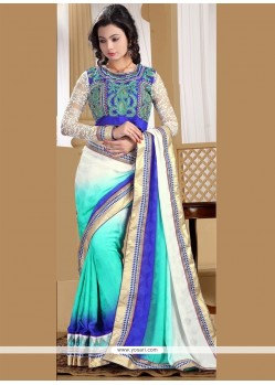 Fabulous Blue And Off White Resham Work Satin Designer Saree