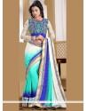 Fabulous Blue And Off White Resham Work Satin Designer Saree