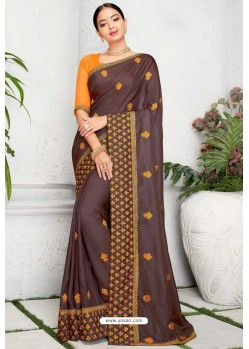 Brown Silk Designer Embroidered Saree