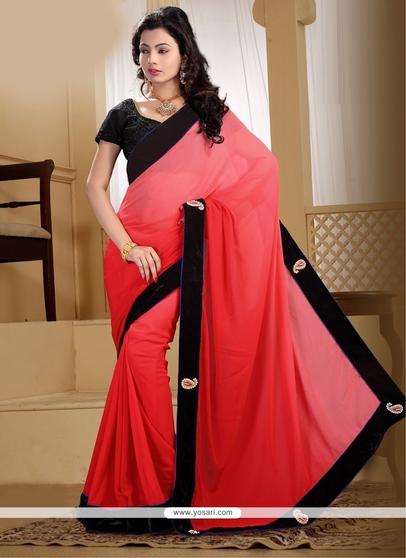 Praiseworthy Red Georgette Contemporary Saree