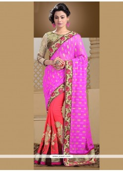 Princely Zari Work Hot Pink Designer Saree