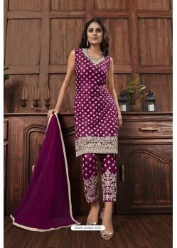 Violet Heavy Thread Embroidered Designer Suit