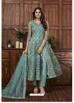Turquoise Blue Heavy Thread Embroidered Designer Suit