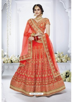 Reddish Orange Heavy Designer Wedding Wear Bridal Lehenga Choli