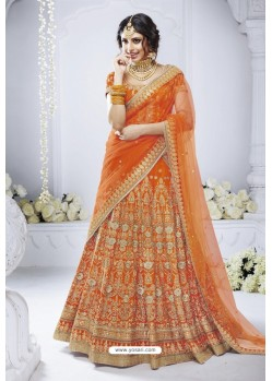 Orange Heavy Designer Wedding Wear Bridal Lehenga Choli