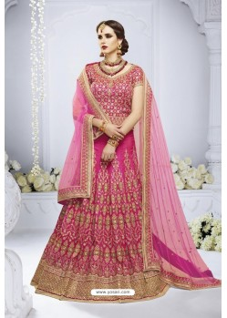 Hot Pink Heavy Designer Wedding Wear Bridal Lehenga Choli