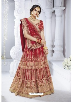 Red Bhagalpuri Designer Wedding Wear Bridal Lehenga Choli