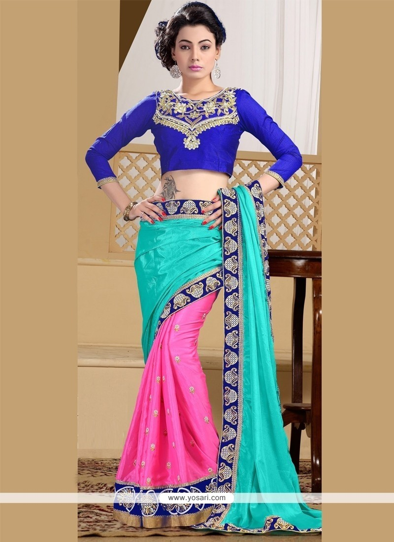 Praiseworthy Faux Chiffon Hot Pink And Turquoise Patch Border Work Designer Saree