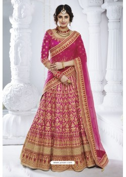 Rani Pink Bhagalpuri Designer Wedding Wear Bridal Lehenga Choli