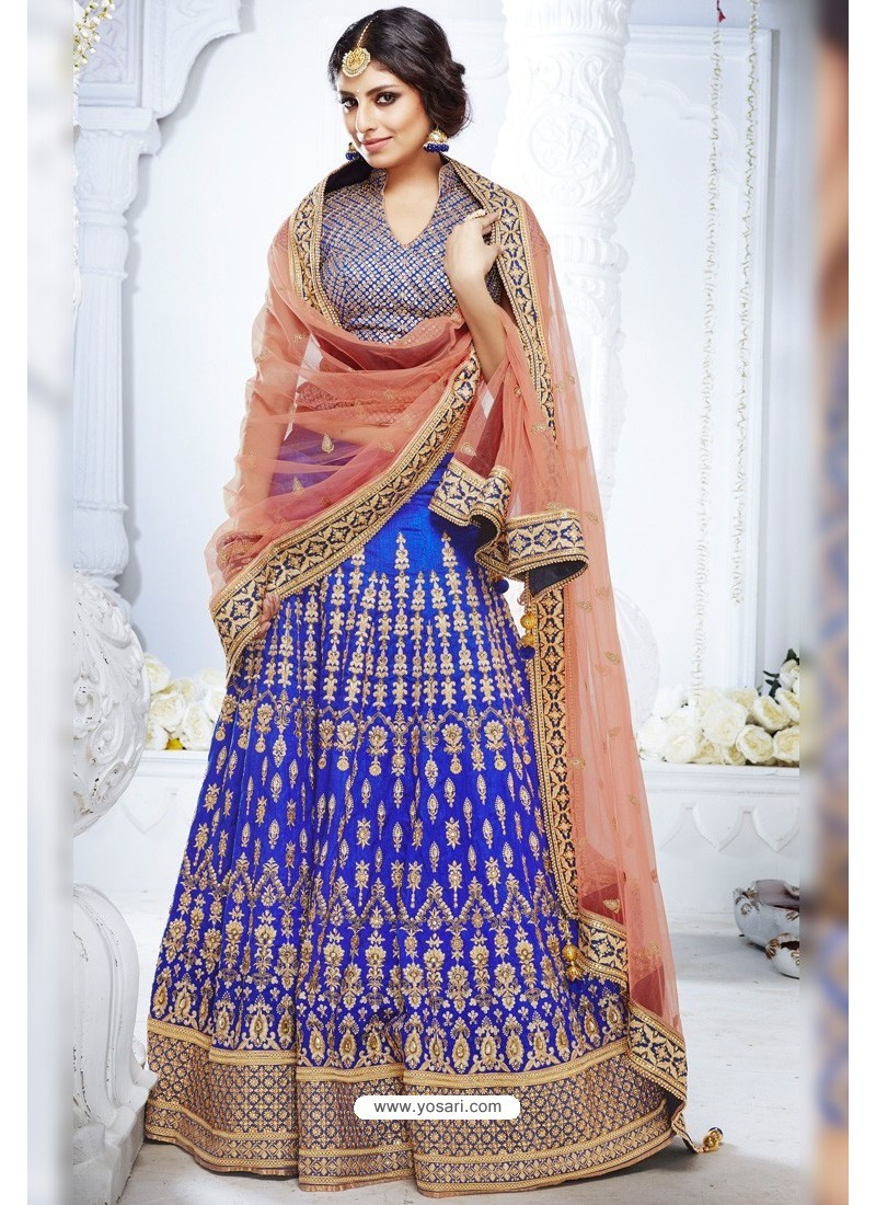 Royal Blue Heavy Designer Wedding Wear Bridal Lehenga Choli