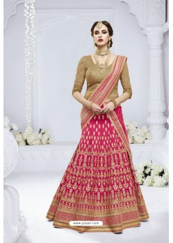 Rani And Beige Heavy Designer Wedding Wear Bridal Lehenga Choli