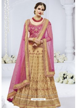 Beige And Rani Heavy Designer Wedding Wear Bridal Lehenga Choli