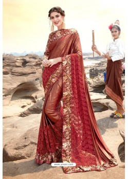 Rust Traditional Wear Satin Lycra Designer Saree