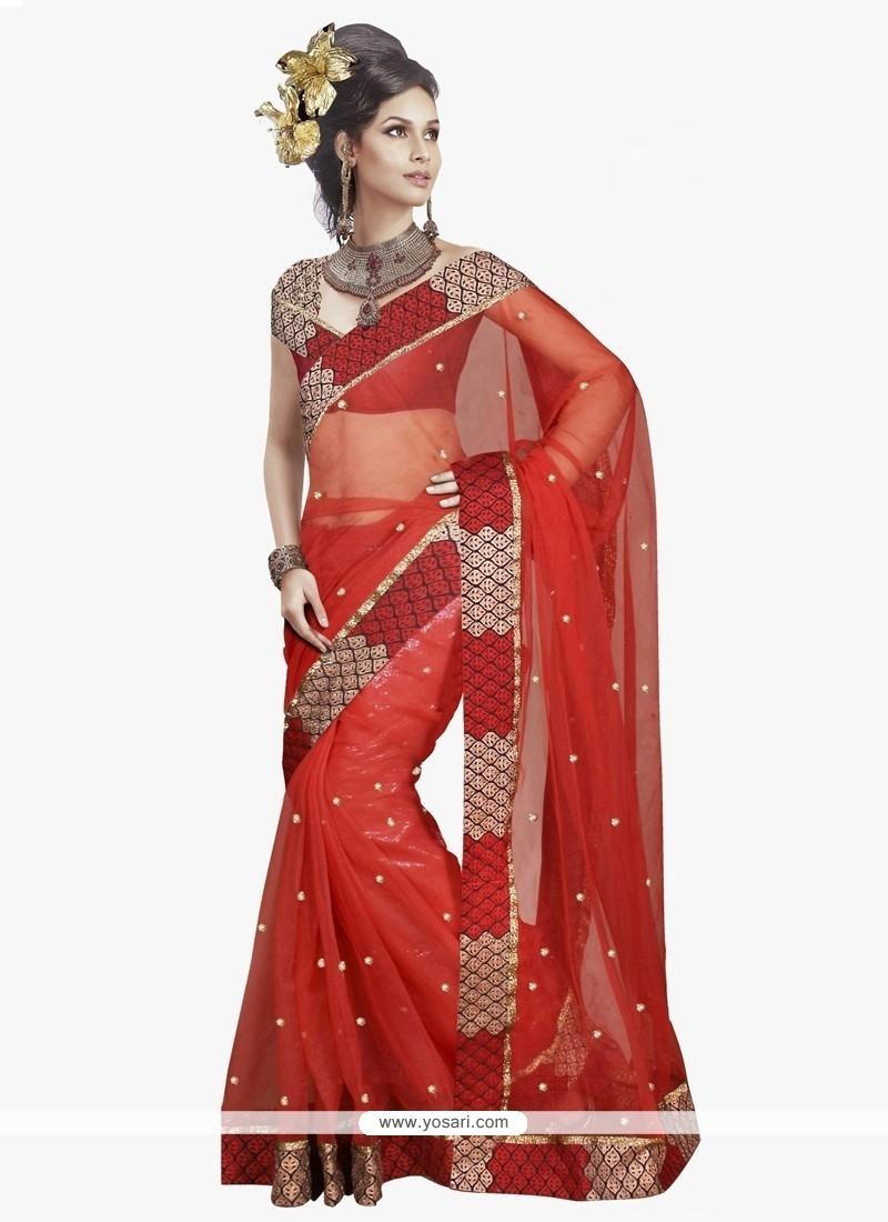Adorable Net Embroidered Work Designer Saree