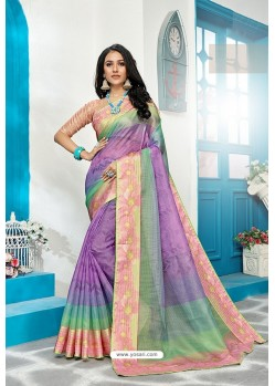 Lavender Stylish Cora Checks Printed Saree