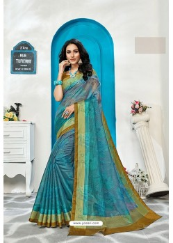 Blue Stylish Cora Checks Printed Saree