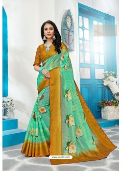 Jade Green Stylish Cora Checks Printed Saree