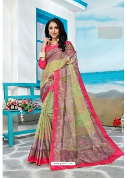 Multi Colour Stylish Cora Checks Printed Saree