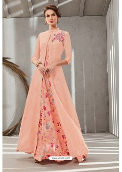 Peach Poly Organdy Latest Party Wear Gown