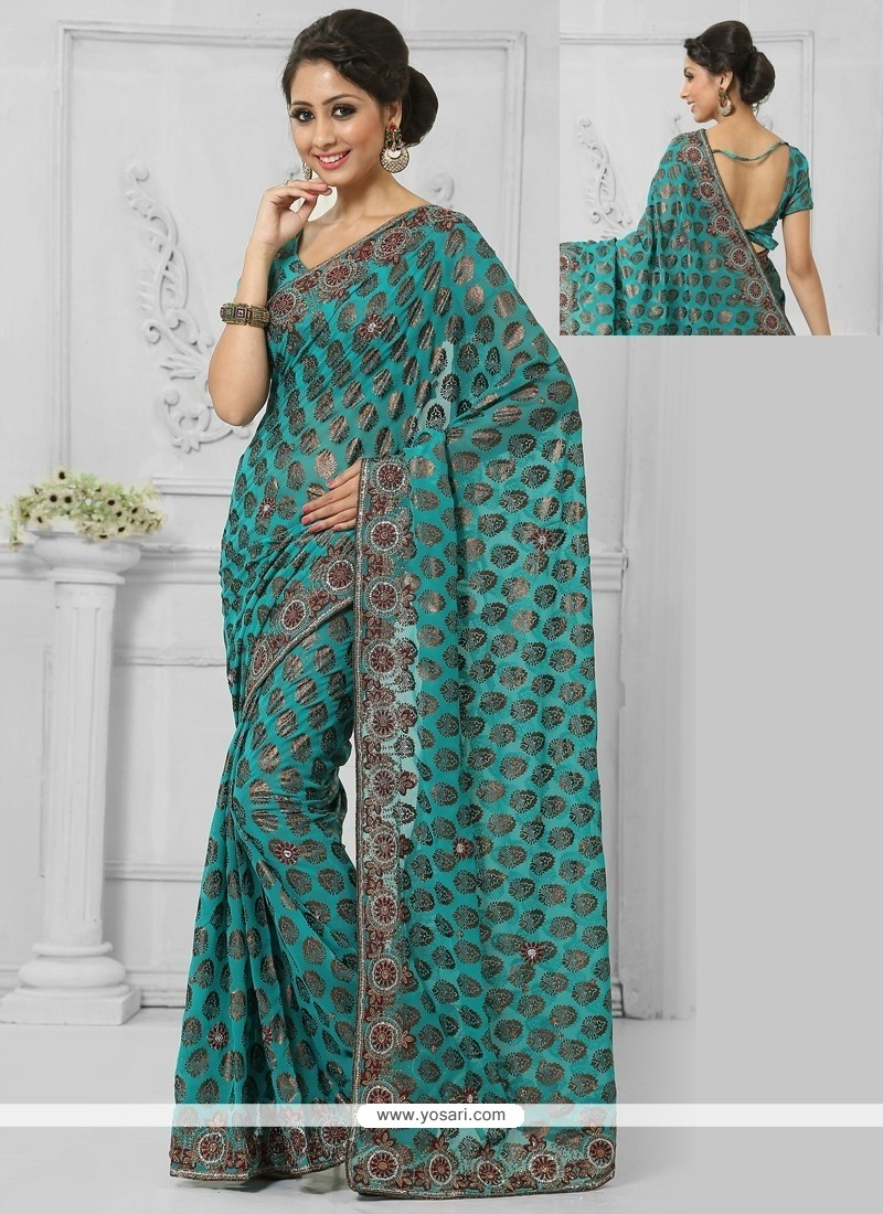 Impeccable Green Patch Border Work Casual Saree