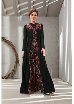 Black Poly Organdy Latest Party Wear Gown