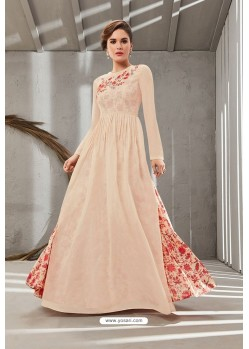 Cream Poly Organdy Latest Party Wear Gown