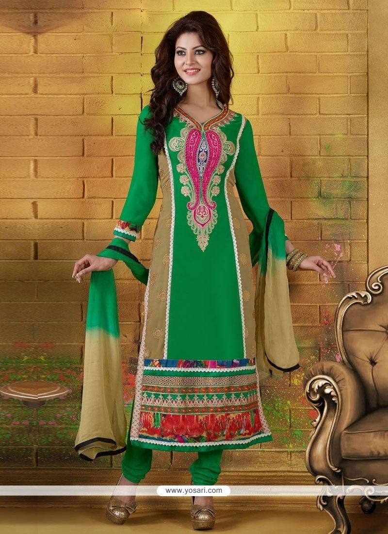 Dignified Green And Cream Embroidery Churidar Suit