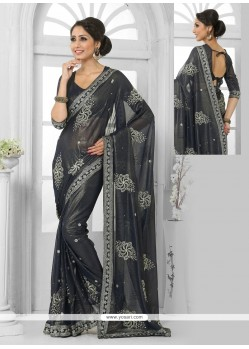 Black Resham Work Shimmer Georgette Casual Saree
