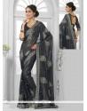 Black Resham Work Shimmer Georgette Casual Saree